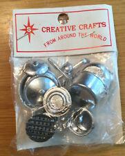 Vintage Lot Miniature Dollhouse Plastic Gray Pots & Utensils Hong Kong Cookware