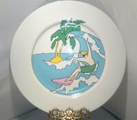 "4 Studio Nova SURF'S UP Dinner or Chop Plates 12""  Platter RETRO SURFING SOCAL"