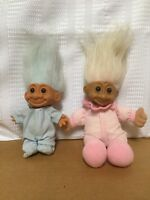 Lot Of 2 Russ Troll Dolls Bedtime Pajamas Blue Pink Hair Very Cute