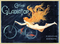 Cycles Gladiator 1895 Vintage Style Art Nouveau Bicycle Poster 18x24