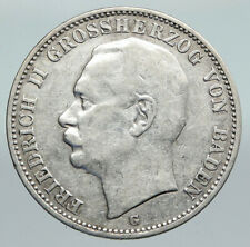 1910G Baden German State KING FREDERICK II Eagle Crown SILVER 3 Mark Coin i91406