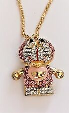 BETSEY JOHNSON PINK CRYSTAL CARTOON BEAR ? PENDANT NWT GOLD TONE