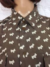 ❤ vintage anni'90 unisex oversize seta Brown Dog Print Festival Blogger Camicia