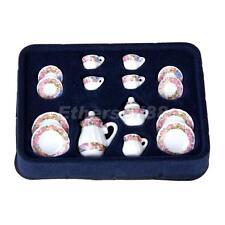 15pcs 1:12 Dolls House Dining Ware Porcelain Tea Set Dish Cup Plate Flower Print