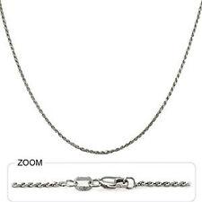 "3.90 gm 14k White Gold Diamond Cut Rope Women's / Men's Chain Necklace 24"" 1 mm"