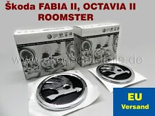 2x NEU SKODA Emblem Logo für Skoda OCTAVIA II, FABIA II, ROOMSTER (V+H)