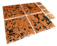 Slate placemats & coasters, distressed copper tableware, opt copper silver gold