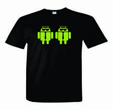 Android T-Shirt  Android with Tie Glasses Hat Nerd/Computer Geek Cell Phone