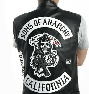 Sons Of Anarchy Mens Vest Leather Jacket Motorcycle SOA Vests Jackets 2021 Tops