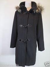 College manteau Laura di scarpi dufflecoat 40 L noir bleu capuche webpelz/t2