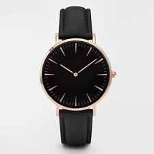 Neu Mode Herren Damen Freizeit Kunstleder Uhr Einfache Quarz Armbanduhr DE #a