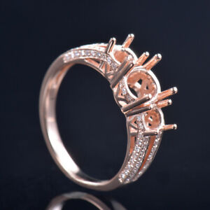 Three Stones Lady Ring Setting Round 6mm 4mm Natural Diamond Solid 14K Rose Gold