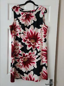 LADIES WALLIS PINK/BLACK LARGE FLORAL SHIFT DRESS SIZE L (16/18)