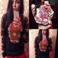New Ladies Womens Geometric Printed shirt Hoodie Jumper Sweatshirt Top Size 6-14