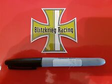 Blitzkrieg Racing Iron Cross (Green) Sticker Old Skool VW Bug Bus Hot Rod Drag