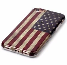 For iPhone 7 - Hard TPU Rubber Gummy Skin Case Cover Patriotic USA American Flag