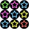 144 Reward Stickers 30mm Neon Stars for Teacher, Parent, Children's Party Bag