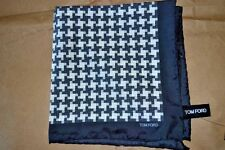 $145NWOT TOM FORD Charcoal BLK White houndstooth silk pocket square handkerchief