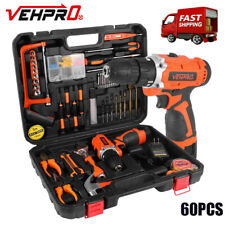 Power Tool Combo Kit with 60Pcs Accessories Toolbox and 16.8V Cordless Drill Set