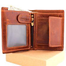 Men's retro Leather wallet 6 credit card slots 3 id windows Trifold handmade