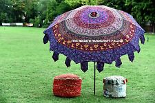 Indian Beautiful Garden Parasol Violet Mandala Cotton Sunshade Parasols Umbrella