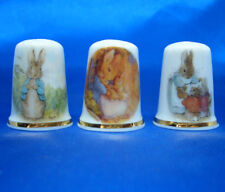 Birchcroft Thimbles -- Set of Three -- Beatrix Potter Rabbits