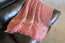 "Swedish weaving afghan/sofa/lap throw Mauve/Pink Hand-stitched 49""x55"" washable"