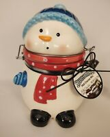 Conaga Ceramic Jar Swiss Miss Snowman w Bailing Wire Closure