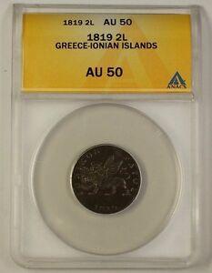 1819 Greece-Ionian Islands 2 Lepta Bronze Coin ANACS AU-50 Scarce