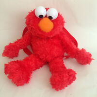 Sesame Street Elmo Fuzzy Stuffed Plush Animal Toy Backpack 15""