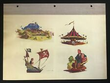 DISNEYLAND Concept Art Lithograph 60th VIP Gift 9x12 1954 Fantasyland Vehicles