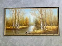 Signed and Framed Original Oil Painting of Forest Clearing / Woodland Scene