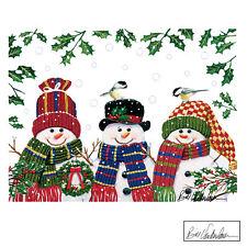 Festive Snowman Trio Garage Door Magnets - Holiday Outdoor Decoration