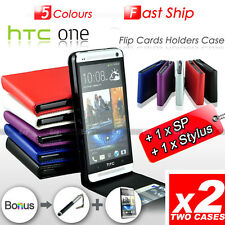 2 PACK Premium Leather Flip Wallet Cards Holders Case Cover For HTC ONE M7 810e