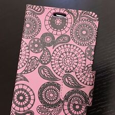 For LG V20 - Pink Paisely Coin Circles Card Slot Wallet Diary Pouch Case Cover