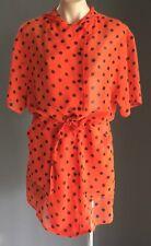 HARRY WHO Orange & Black Polka Dot Drawstring Waist Sheer Hoody Jacket  Size 12