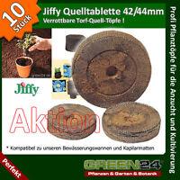 10 Stück Jiffy® Quell-Tabletten Torf-Quelltöpfe Aussaaterde Anzuchterde Torf Tab