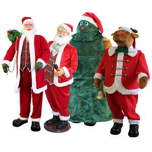 [lux.pro]® Weihnachtsmann Tannenbaum Rentier Singend Tanzend Musik Lebensgroß