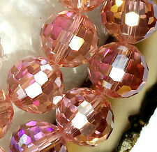 """10mm Faceted Pink Crystal Quartz Round Loose Beads 16"""""""