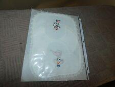 Handmade Baby Bib Set Hand Embroidered Vintage Bugs Bunny Elf Balloons Donkey