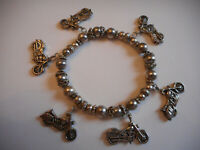 Vintage Beaded Motorcycle Charm Bracelet With 6 Motorcycle Charms (Stretch)