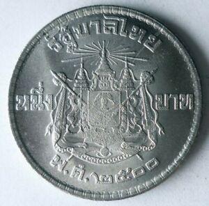 1957 THAILAND BAHT - AU/UNC - Excellent Exotic Silver Coin - Lot #A3