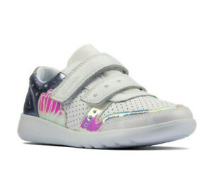CLARKS Scape Shell K Girls Leather Trainers