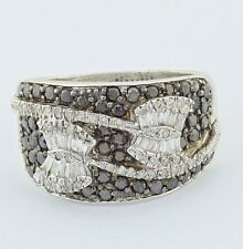 Ladies Custom Made Solid 10K White Gold Black & White Diamonds Butterfly Ring