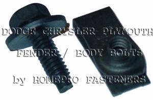 1/4 BLACK FENDER BOLTS & LNG U NUTS 24p FOR CHRYSLER FOR DODGE FOR PLYM (9526)