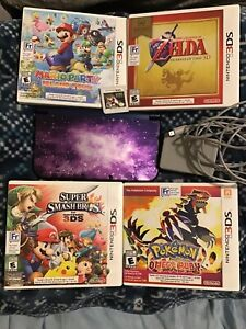 New Nintendo 3DS XL Galaxy Style 4GB Purple Handheld Console + Charger & Games