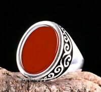 Red Agate Aqeeq Stone Turkish Handmade 925 Sterling Silver New Men Ring ALL SİZE
