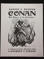 SIGNED Limited Edition Portfolio Stephen Fabian Conan Tower of the Elephant 1977
