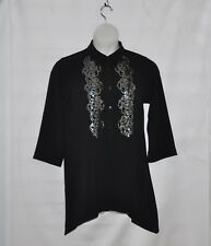 Linea by Louis Dell'Olio Gauze Crepe Swing Top With Sequin Size S Black