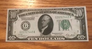 1928-B $10 Federal reserve note , Chicago district Choice  Uncirculated, Scarce